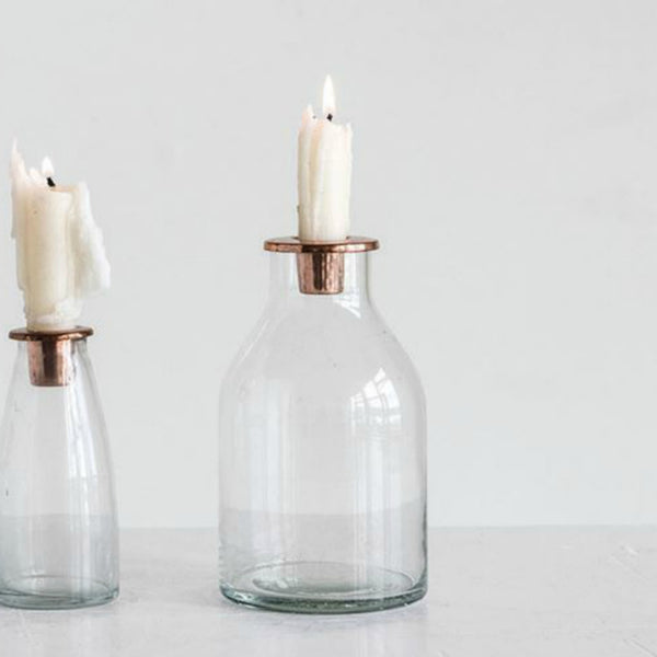 Copper and Glass Candle Holder