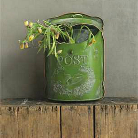 Farmhouse Green Embossed Metal Vintage Inspired Mailbox