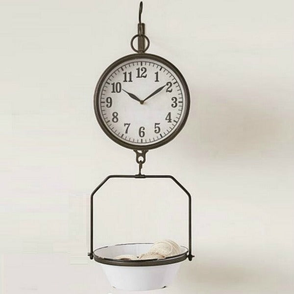 Hanging Enamel Grocery Scale Clock