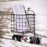 Rustic Metal Hanging Wire Basket Caddy with Two Hooks