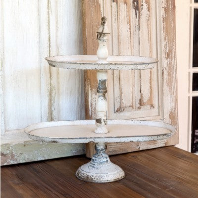 Distressed Metal Two Tier Serving Tray; Farmhouse or Shabby Chic Cottage Style