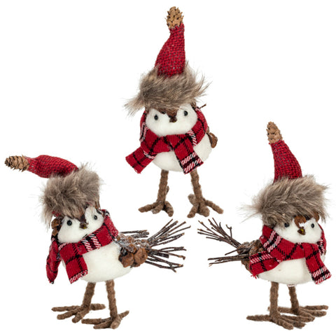 Holiday Birds with Plaid Scarves - Set of Three