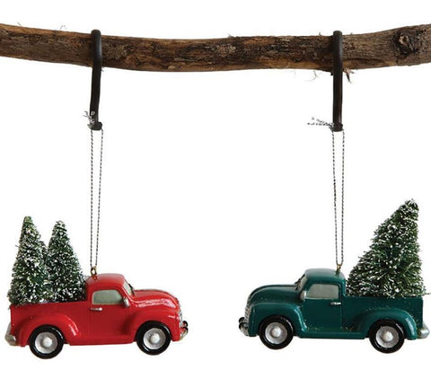 Vintage Truck with Trees Holiday Ornaments Set of Two