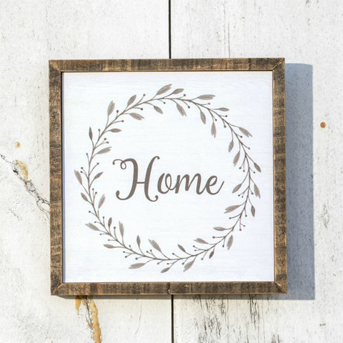 Home wall sign with delicate grapevine wreath detail
