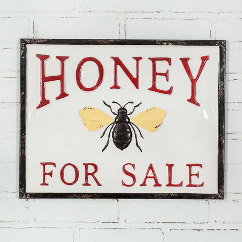 Rustic Cottage Embossed Metal Honey for Sale Sign