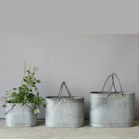 Industrial Farmhouse Galvanized Metal Buckets with Handles Set of Three
