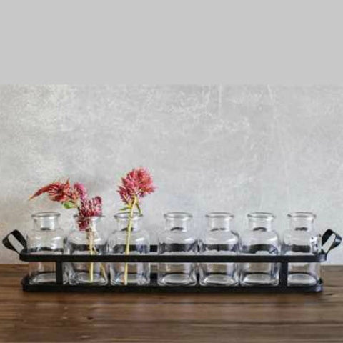 Iron Tray with Glass Vases Perfect for Spring and Summer