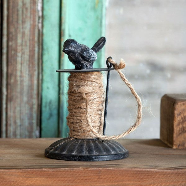Vintage Inspired Metal Twine Holder with Bird Finial