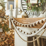 Cozy Knitted Chunky White Yarn Holiday Garland perfect for a Christmas Tree or Fireplace Mantle