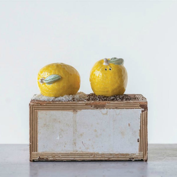 Lemon Salt & Pepper Shakers - Set of Two