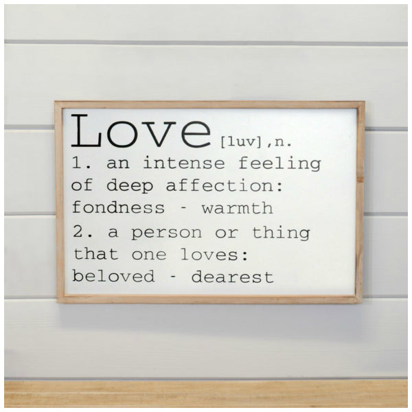 Definition of love wall decor sign