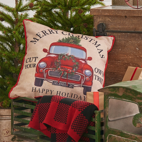 """Cut Your Own Trees"" Decorative Holiday Pillow"