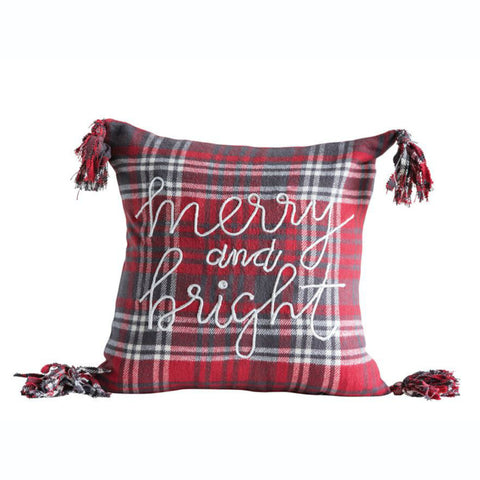 """Merry and Bright"" Decorative Holiday Pillow"