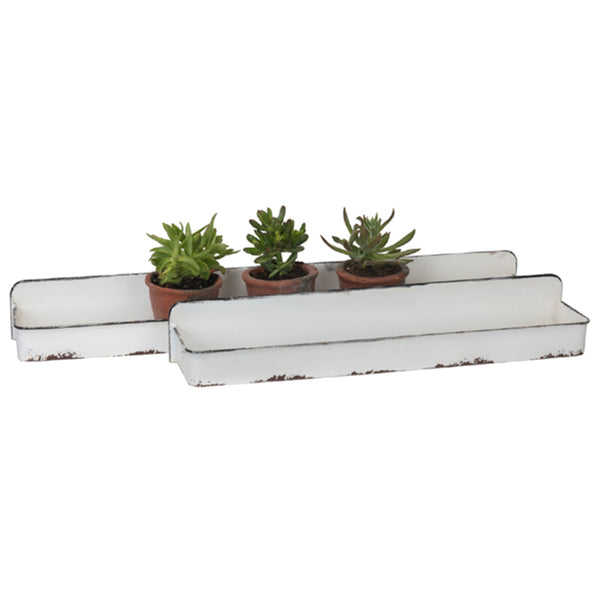 Enamel Metal Wall Trays- Set of 2