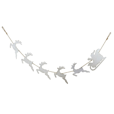Tin Santa with Sleigh Holiday Garland