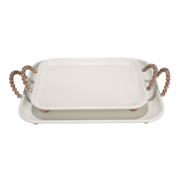 White Metal Serving Trays with Beaded Handles - Set of Two