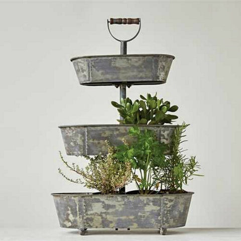 Rustic Metal Three Tier Bucket Tray with Wood Handle
