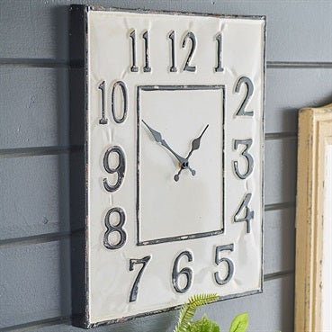 Vintage Enamel Metal Wall Clock