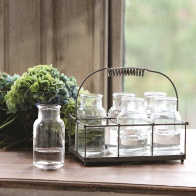 Metal and Glass Milk Bottle Flower Vases