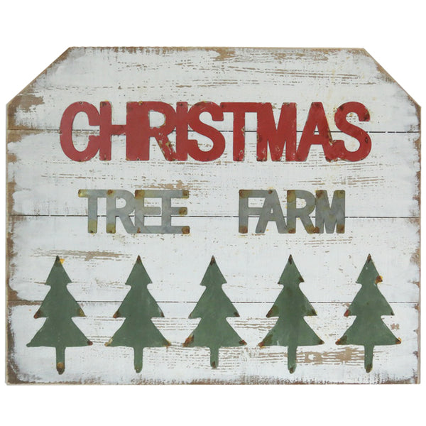 Wood and Metal Christmas Tree Farm Sign