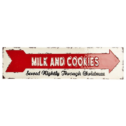 Milk and Cookies Served Nightly Through Christmas - Vintage inspired holiday wall sign
