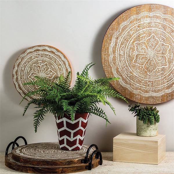 Lotus Decorative Wooden Trays - Set of Two