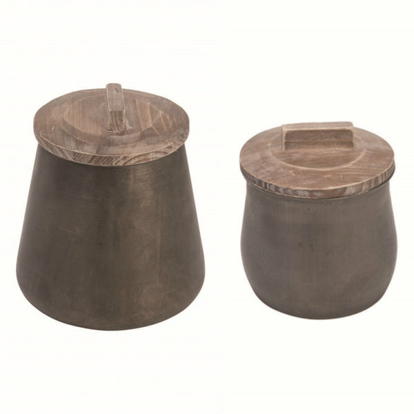 Aged metal canister with rustic wooden lid perfect for the modern farmhouse or boho chic look!!