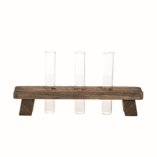 Rustic modern farmhouse style wooden holder with three glass vases perfect for a casual home decor centerpiece