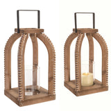 Modern Farmhouse Style Wooden Lantern with Beaded Details and Glass Candle Hurricane - perfect for casual rustic home decor or entertaining