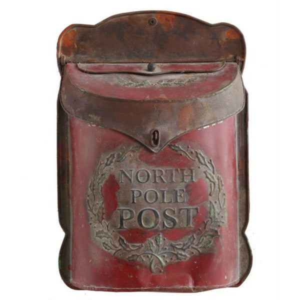Embossed Red Metal Vintage Inspired North Pole Post Holiday Mailbox