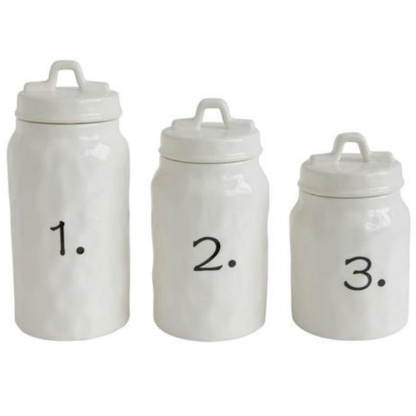 Numbered Ceramic Canisters - Set of 3