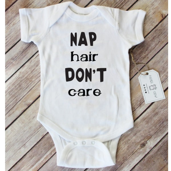 Nap Hair Don't Care Baby Onesie