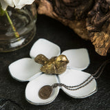 Flower Jewelry Dish with Gold Bird