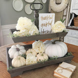 Rustic Wooden Two Tier Farmhouse or Cottage Serving Tray