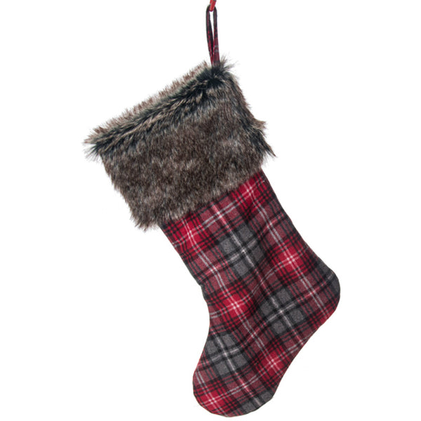 Plaid Holiday Stocking with Faux Fur Cuff