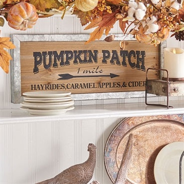 Galvanized Metal Framed Rustic Pumpkin Patch Sign