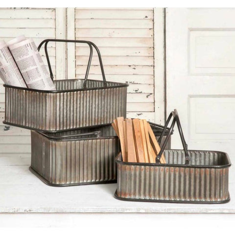 Rectangular Bins with Handles - Set of 3