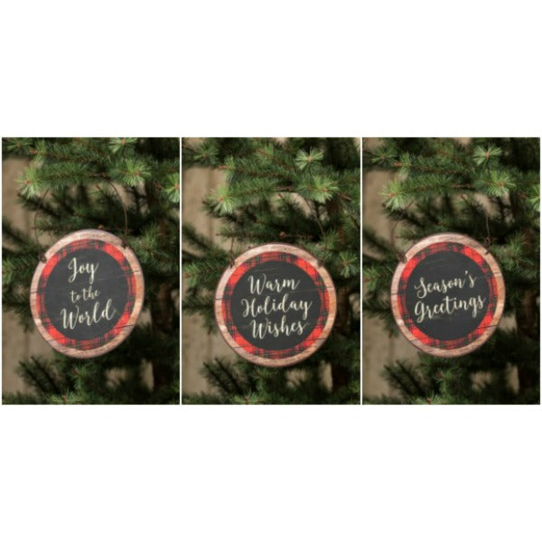 Red Plaid Wall Signs - Set of Three