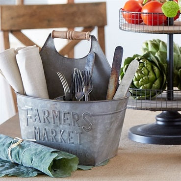 Rustic embossed metal farmers market caddy with wooden handle
