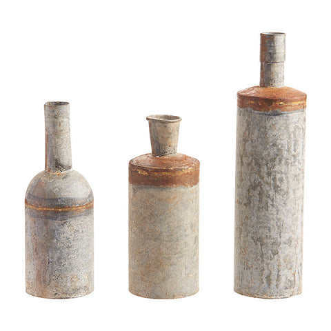 Rustic Metal Vases - Set of Three