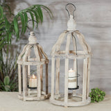 Rustic Wooden Lanterns -Set of Two