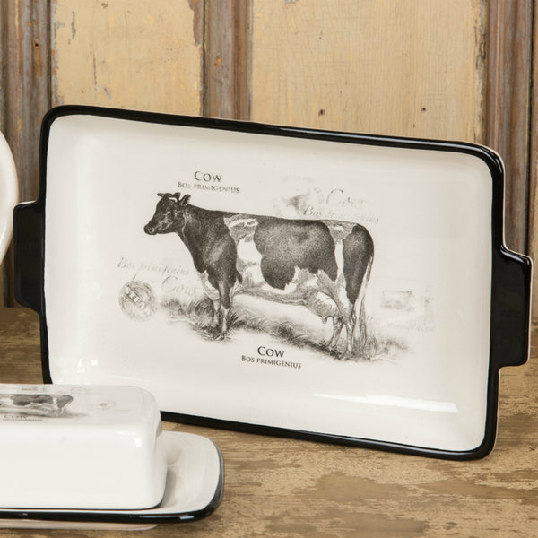 Serving Tray with Cow Decal