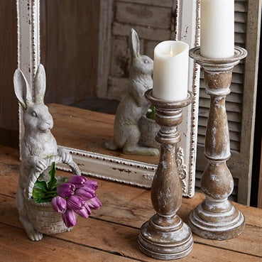 Rustic Faux Wood Painted and Distressed Candle Holders Set of Two