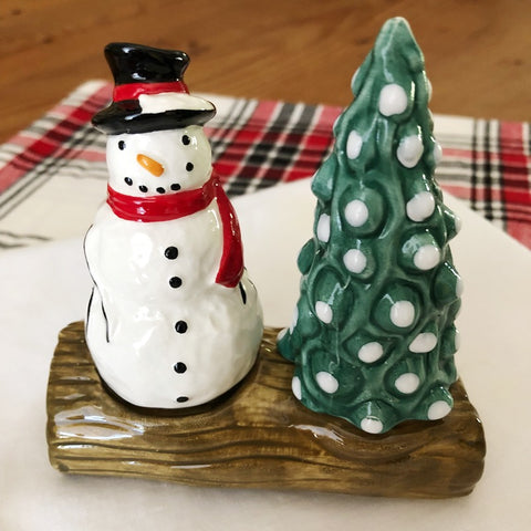 Snowman and Tree Salt and Pepper Shaker Set perfect for a holiday table setting