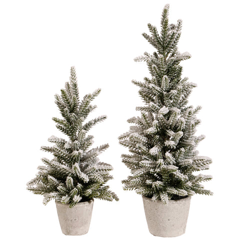 Snowy Pine Trees - Set of Two