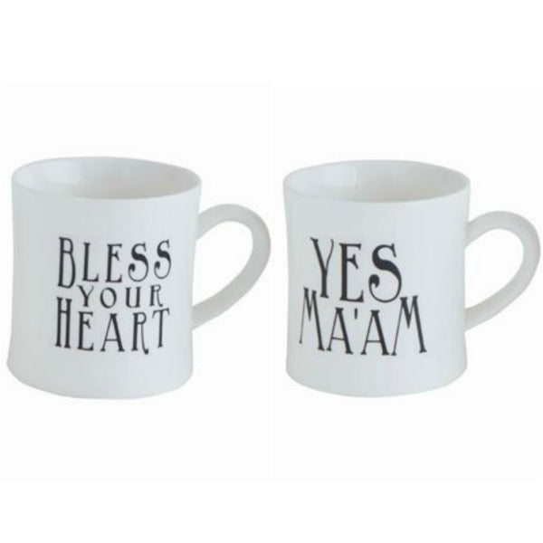 "Southern Sayings Ceramic Mug Set of Two Featuring ""Bless Your Heart"" and ""Yes Ma'am"" so fun for coffee or tea!"