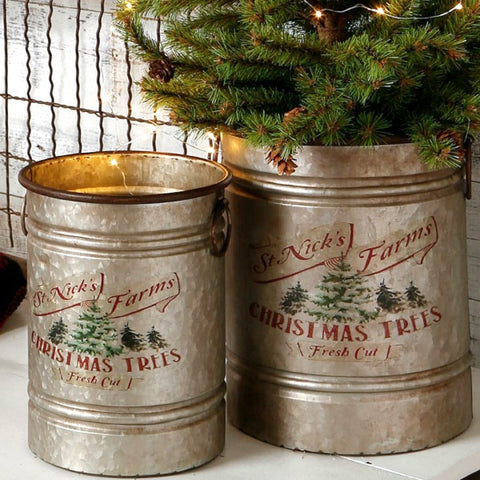 St. Nicks Christmas Tree Farm Set of Two Rustic Metal Buckets
