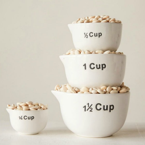 White Stoneware Measuring Cups Set of Four