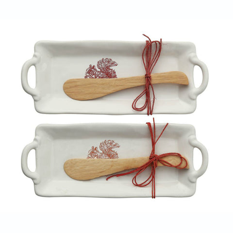 Stoneware Platter with Embossed Squirrel & Wood Spatula