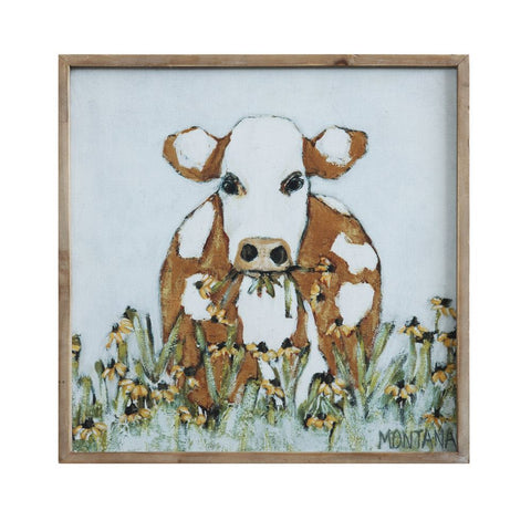 Wood Framed Cow Art Canvas Wall Decor